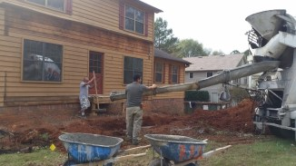 Pouring front footings