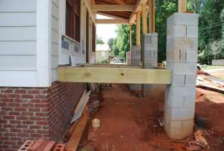 Porch floor framing from left end