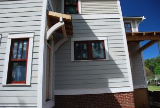 Completed roof framing over Back Stair doorway
