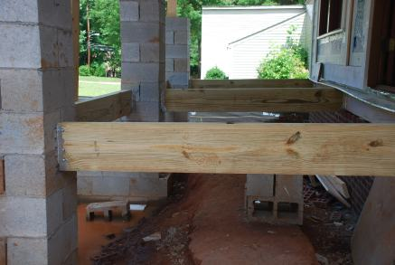 Another view of framing at Porch