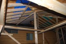 Roof framing at back wall under tarp