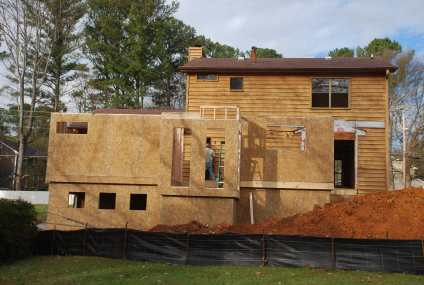 First Floor walls going up - stair hall floor dropped where it should be
