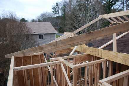 Hip rafter over Master Shower