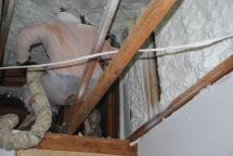 Foaming gable end wall at fireplace