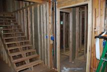 Rock wool sound insulation surrounding Powder Room