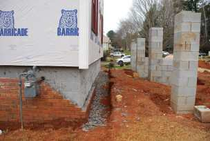 Front left corner - brick demo