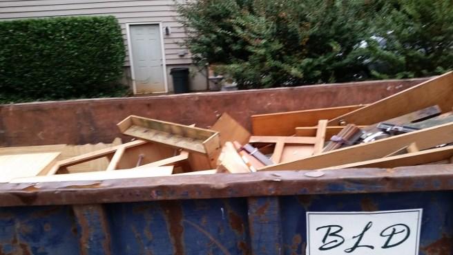 Filling up the dumpster