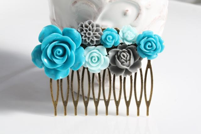 wedding hair comb, teal, blue and grey flower hair comb