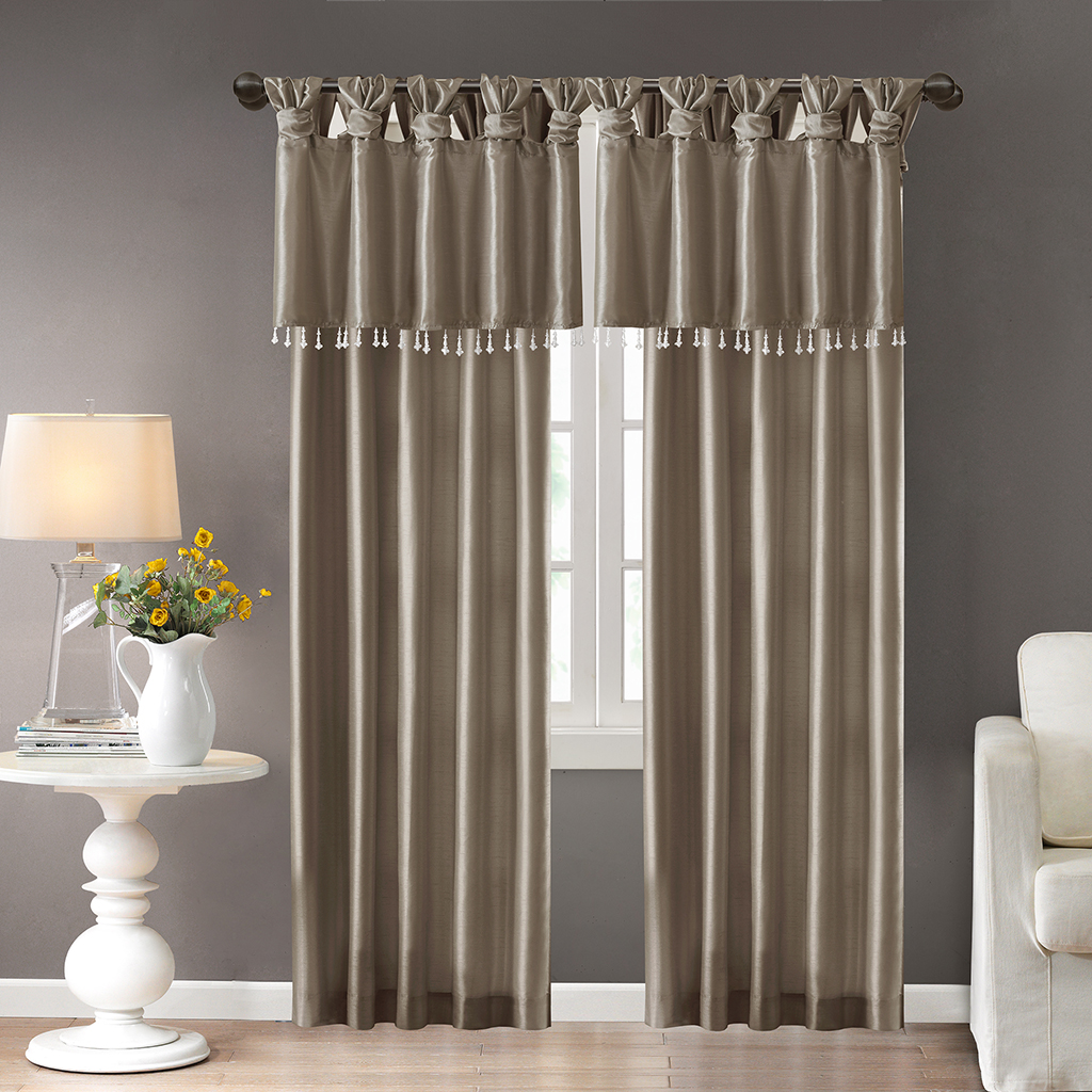 Madison Park Emilia Twisted Tab Valance With Beads