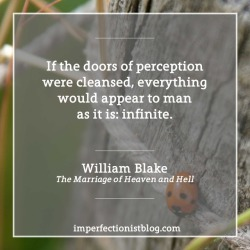 """#035 - William Blake, on perception: """"If the doors of perception were cleansed, everything would appear to man as it is: infinite.""""imperfectionistblog.com/quotes"""