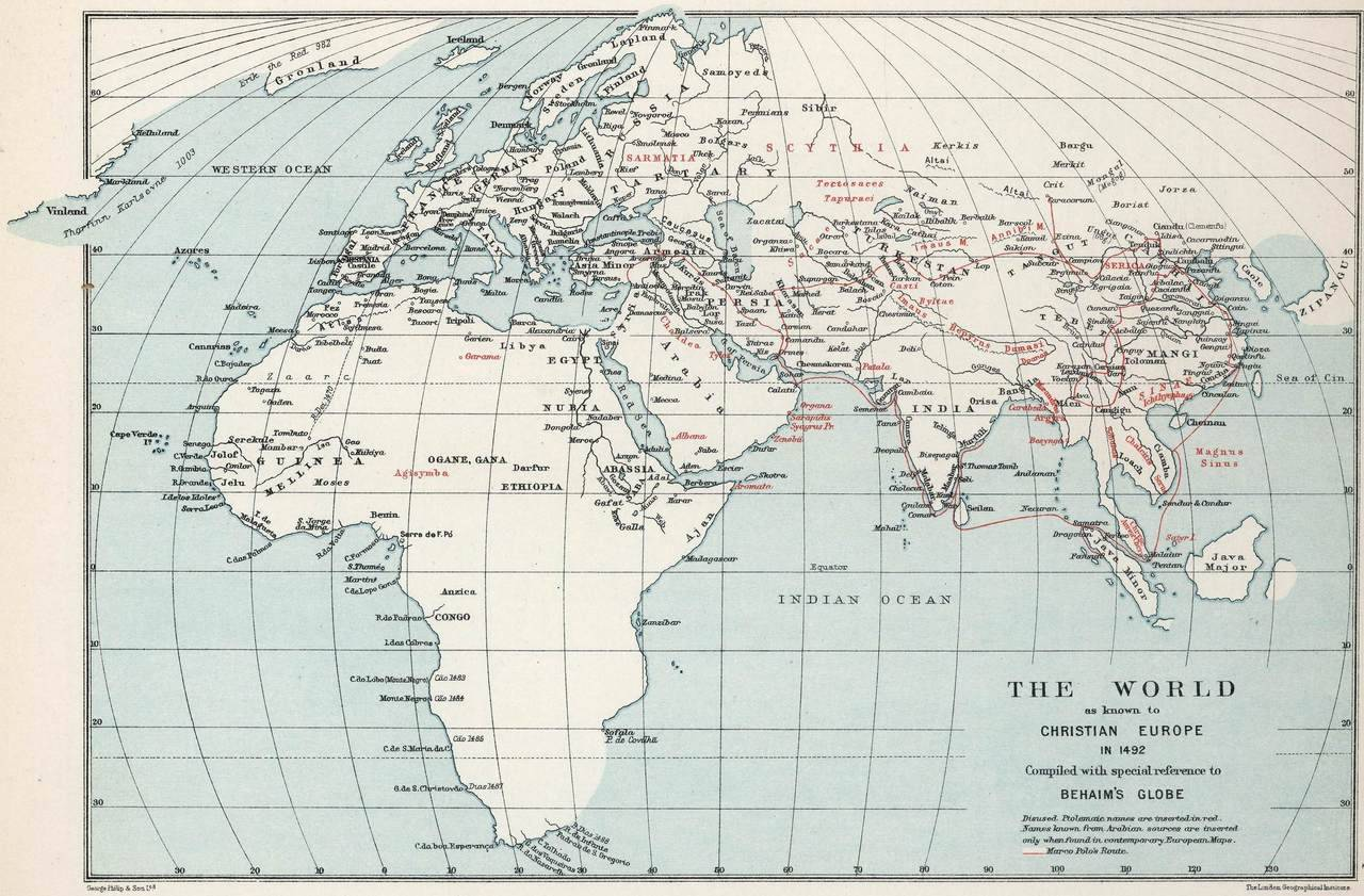 The World As Known To Christian Europe In 1492 Maps On The Web