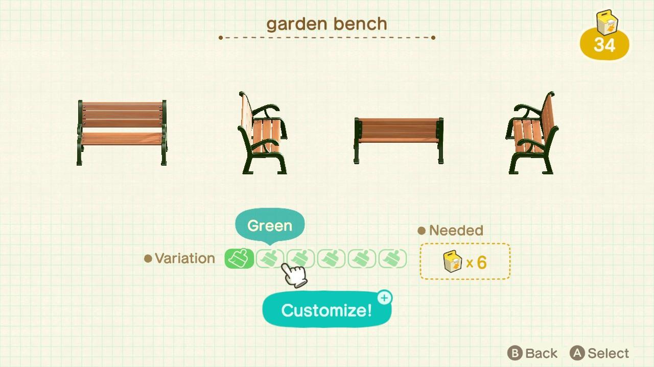 Custom Acnh Furniture Item Garden Bench Of Customizations 6