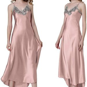 Women's Nightdress Lace Satin Nightgowns Long Chemise Sleepwear. Sexy low v-neck with lace detail... , Tue, 02  Mar 2021 14:24:45 +0000