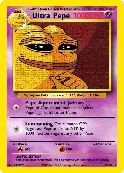 Pepes R Us Extremely Rare Ultra Rare Pepe Card Only 2 Ever