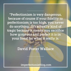 """#122 - """"Perfectionism is very dangerous, because of course if your fidelity to perfectionism is too high, you never do anything…It's actually kind of tragic because it means you sacrifice how gorgeous and perfect it is in your head for what it really is."""" -David Foster Wallace (March 4, 1996 on WNYC's Leonard Lopate Show)"""
