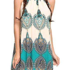 Women's Casual Sleeveless Halter Neck Boho Print Short Dress Sundress. I added a belt to add... , Tue, 25 Aug  2020 04:49:01 +0100