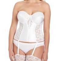 Women's Full figure Lace Corset Bra. Light boning slims and cinches waists, curves hips and flattens stomachs.  kodel fiber-filled cups, and side panels are detailed in lace. undercups and front panels are double knit enkalure nylo n. removable garters.It was exactly what I was looking for. It fit perfectly,made my dress look great. I would definitel y recommend this item. You will be satisfied. Sun, 27 Sep 2020 19:12:37 +0400