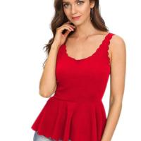 Women's Sexy V Neck Backless Camisole Scalloped Peplum Cami Top. Super cute. I am going to order in another co lor. The back is very low so you cannot wear a bra without it showing. I did get the paste on bra but I haven't worn i t yet. If you have a chest you can easily go without a bra. The material is great and not thin. I don't have a chest a nd it doesn't make me look flat. If the paste on bra is a hassle I will go without it and will be fine. Sat, 24 Oct 20 20 04:48:43 +0400