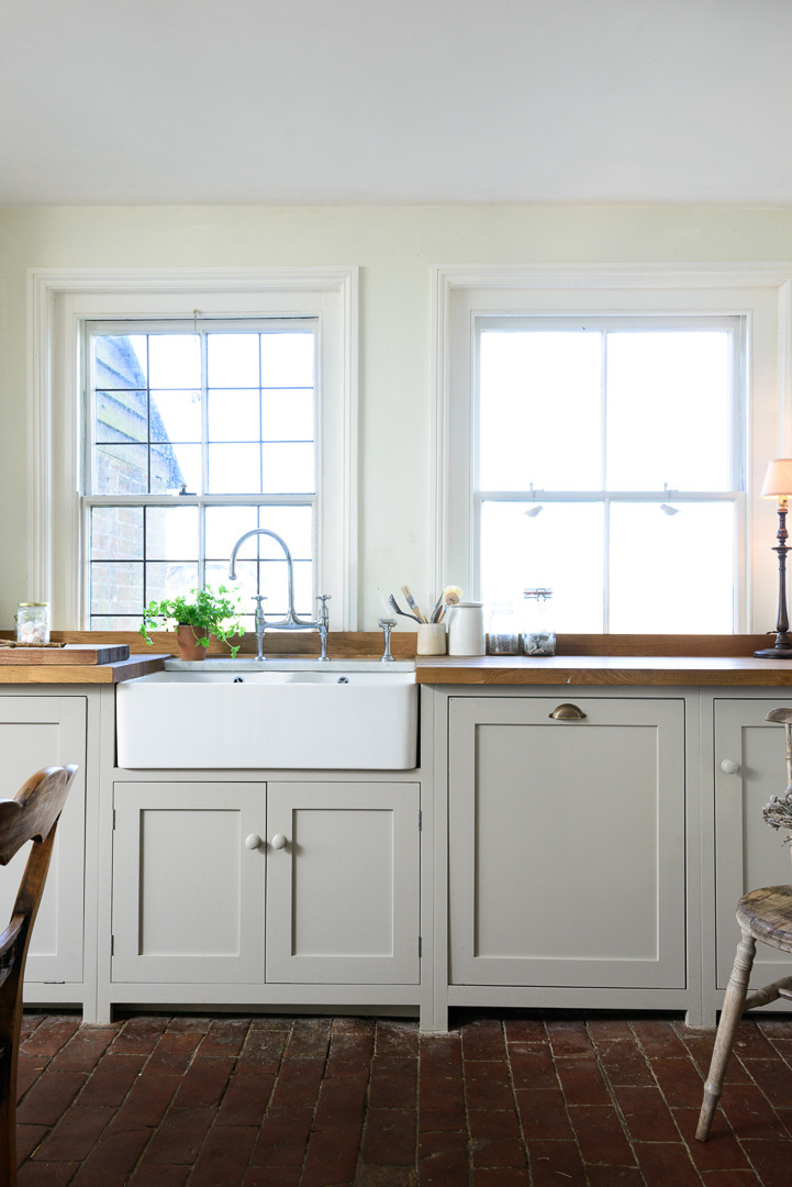 Devol Kitchens Pantry Blue Cupboards And Parquet Flooring Look