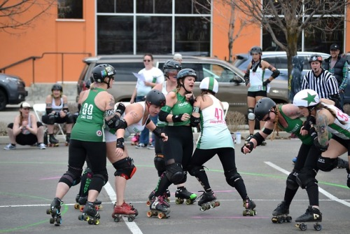 Checking out the Treasure Valley Rollergirls, a team whose story was recently told in a Voices Project 'Radio Race' podcast by producer Mona Soza. (Bonus- can you spot a Radio Boise sticker in these photos?) -dig #Treefort2019 #RadioBoiseAlive #MediaSponsor