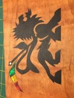 Custom rasta lion with abalone shell flag