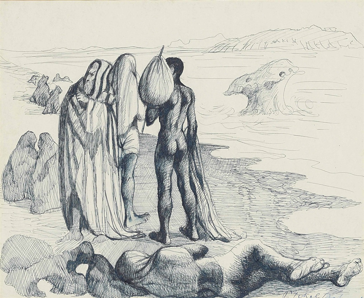 """thunderstruck9:""""Pavel Tchelitchew (Russian, 1898-1957), Figures on a beach, 1943. Ink on paper, 36 x 43 cm."""""""