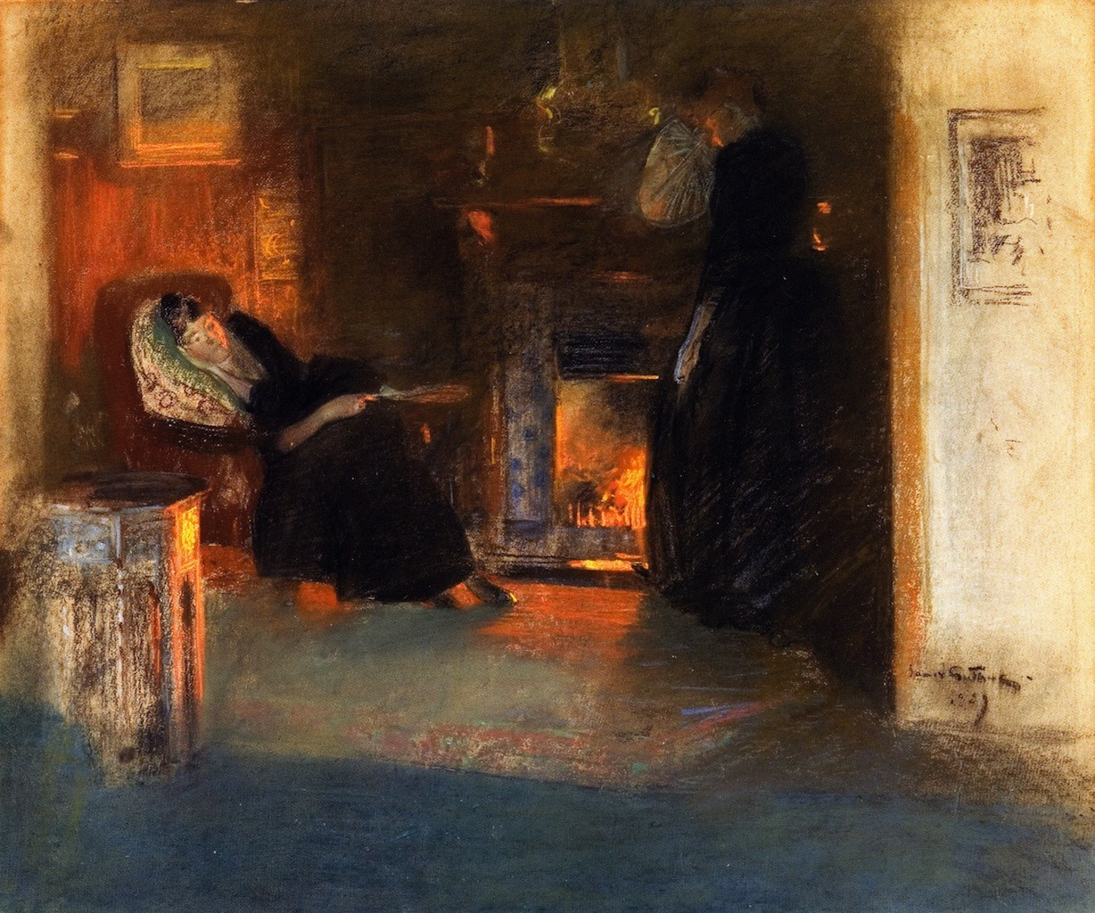 """huariqueje: """" Firelight Reflections - James Guthrie , 1890 Scottish, 1859 - 1930 Pastel drawing, 61 cm (24.02 in.), 52 cm (20.47 in.) """""""