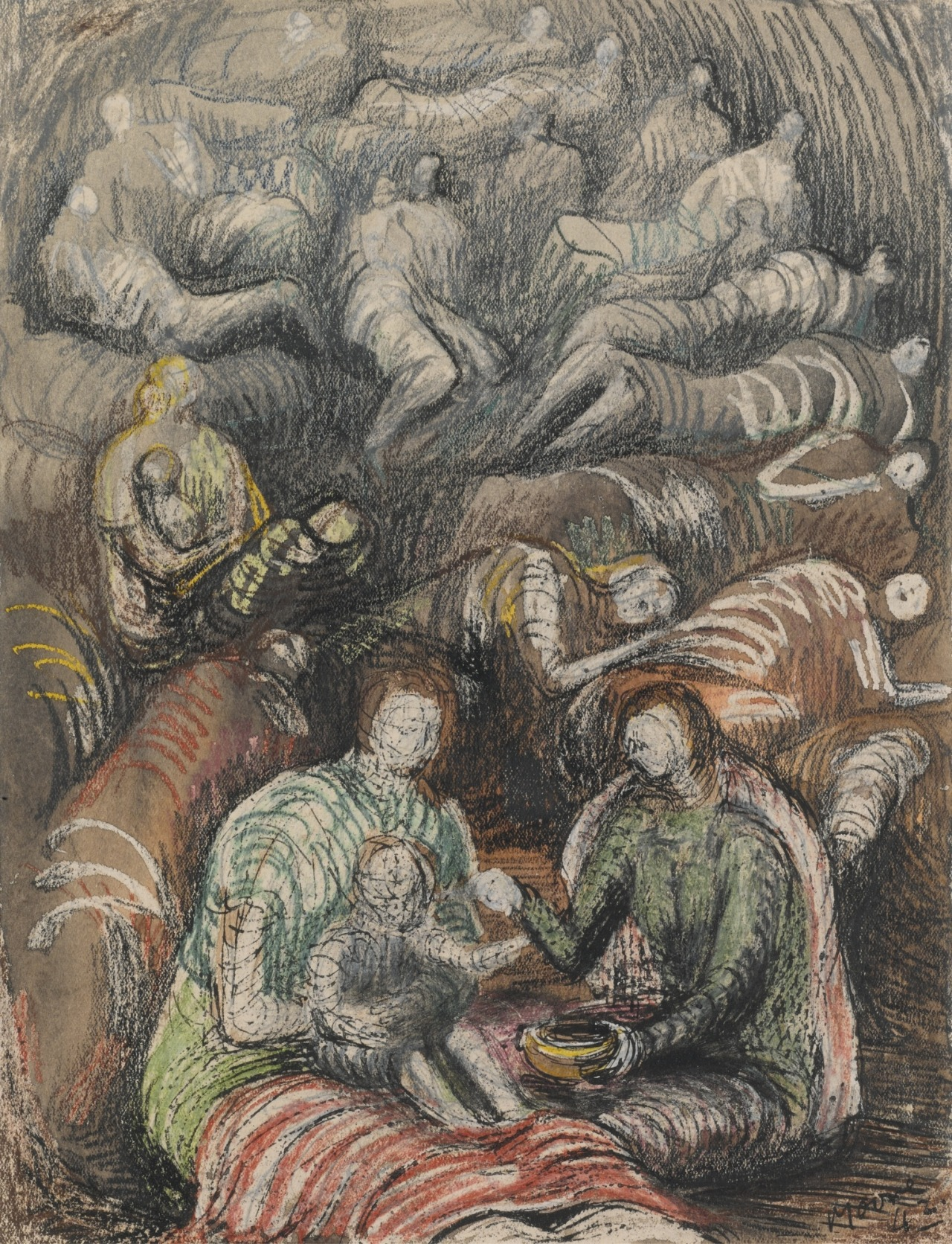 "thunderstruck9: "" Henry Moore (British, 1898-1986), Shelter Drawing, 1942. Pencil, watercolour, wax crayon, pen and ink on paper, 28 x 21.5 cm. """