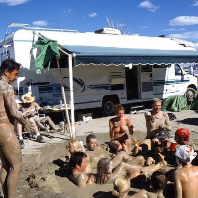 When do you think we should tell 'em this isn't the hot springs but rather the security guard's latrine? #nolifeguardondoodie #burningmanhateweek #burningman #blackrockcity #burningman2016 #brc #blackrockhotsprings