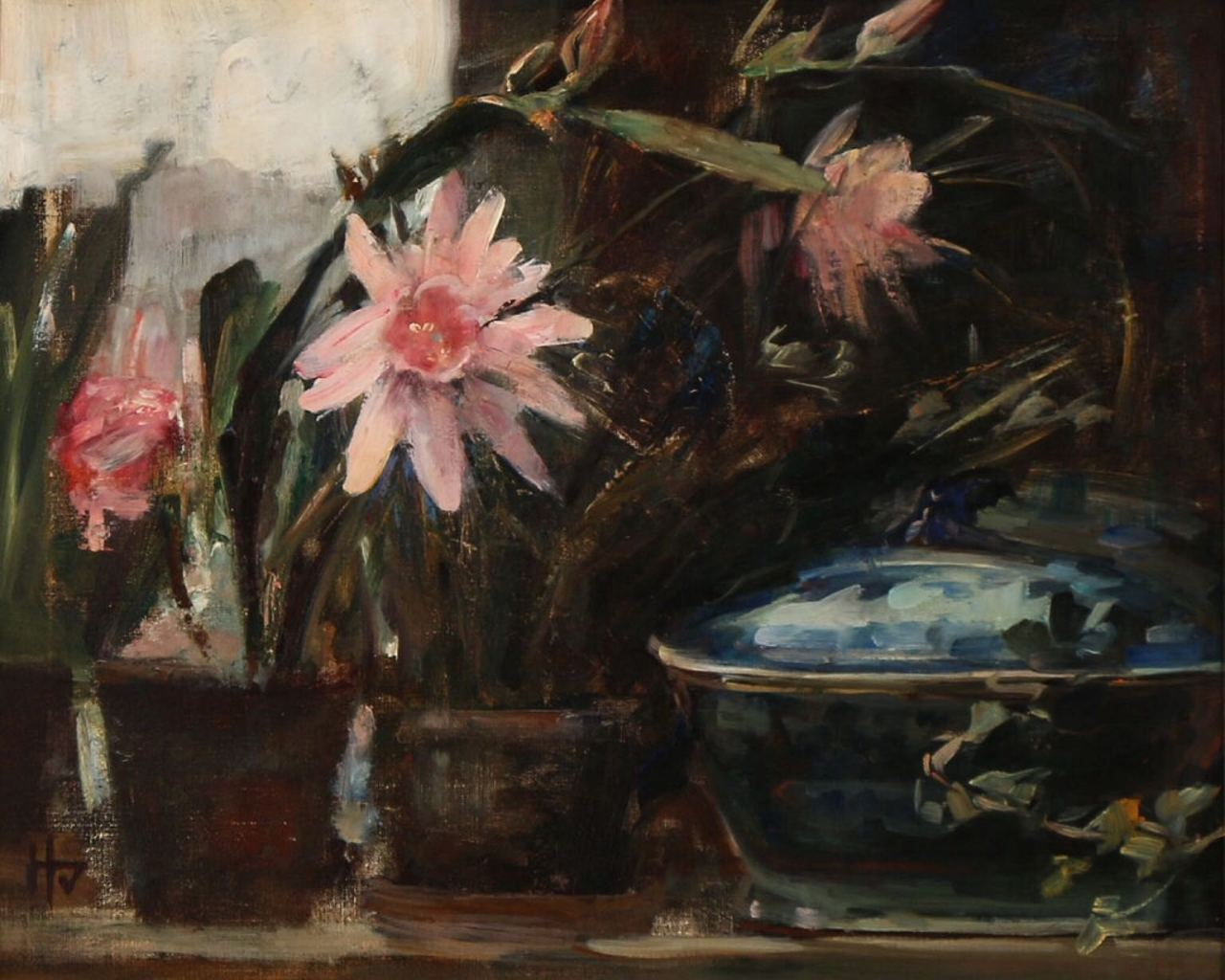 """art-centric: """" Herman Vedel, Still life with pink flowers and a blue tureen """""""