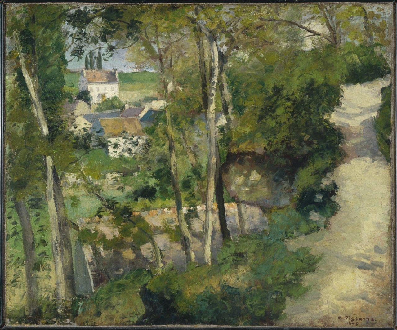 """wetreesinart: """" Camille Pissarro (Fr., 1830-1903), Chemin montant, rue de la Côte-du-Jalet, Pontoise, 1875, huile sur toile, 54 x 65.7 cm, New York, Brooklyn Museum """""""