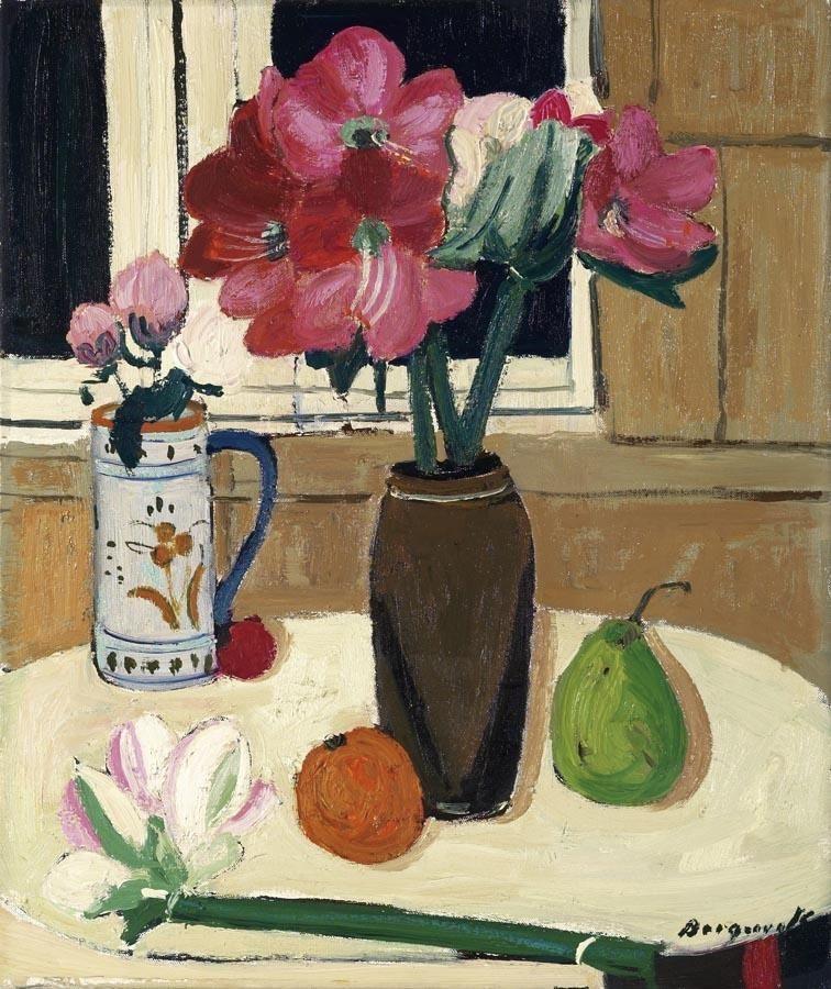 "thunderstruck9:"" Georges Borgeaud (Swiss, 1913-1998), Stillleben an Fenster [Still Life at a Window]. Oil on canvas, 55 x 46 cm."""
