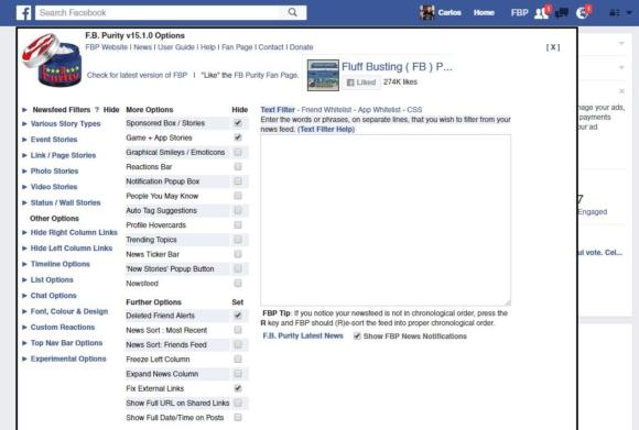 Capture d'écran options FB Purity