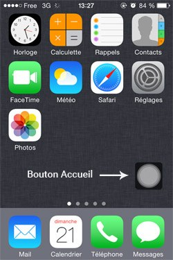 Capture d'écran d'un iPhone avec l'AssistiveTouch