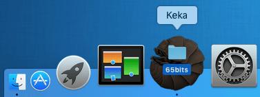 Capture d'écran du drag and drop de dossier sur l'icône Keka