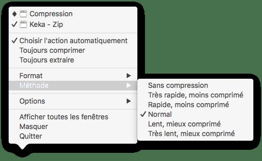 """Capture d'écran du menu contextuel """"Méthode"""""""