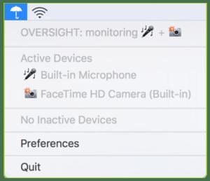 Capture d'écran de la boîte de dialogue d'OverSight