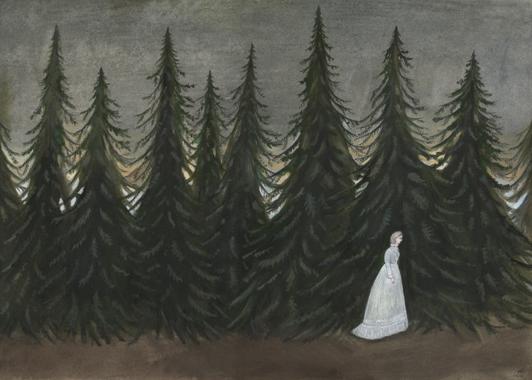 Along the Pines Gouache on paper, 2015 by Kelly Louise Judd
