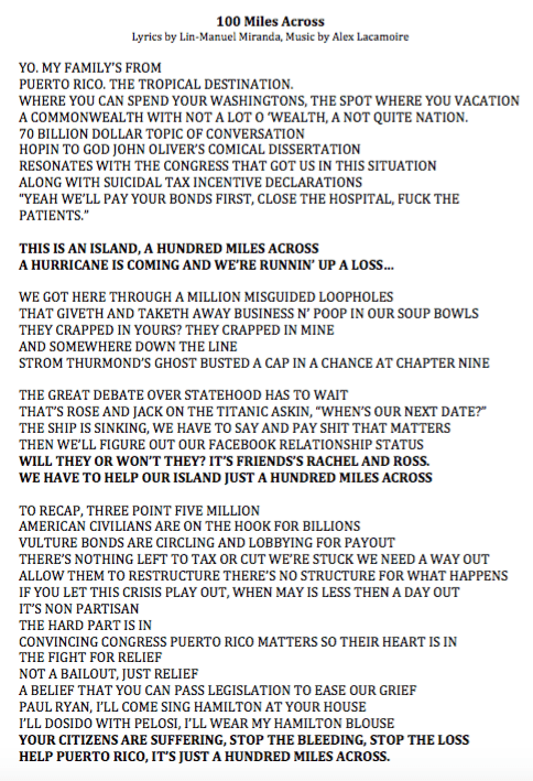 "linmanuel: "" Here are my lyrics to last night's John Oliver piece. Straight from my computer. "" Just going to leave this here. The man is a genius. Swoon,"