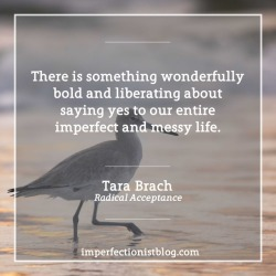 "#353 - ""There is something wonderfully bold and liberating about saying yes to our entire imperfect and messy life."" - Tara Brach (Radical Acceptance)"