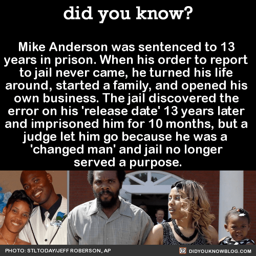 Mike Anderson was sentenced to 13 years in prison. When his order to report to jail never came, he turned his life around, started a family, and opened his own business. The jail discovered the error on his 'release date' 13 years later and...