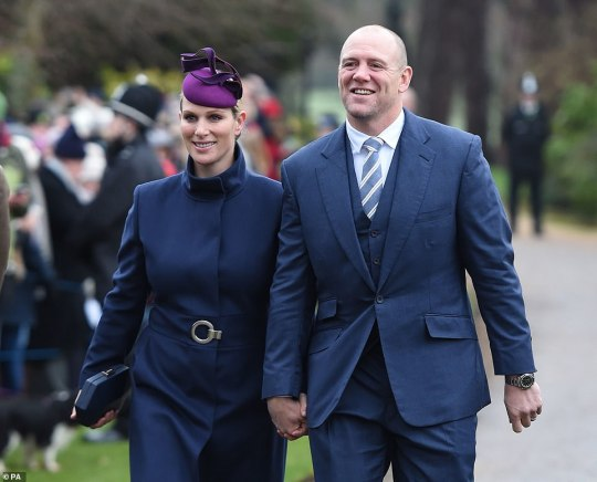Zara Tindall and Mike Tindall arriving today. They were greeted by crowds of wellwishers who had come out to see the royals as they made their way to the church in Sandringham