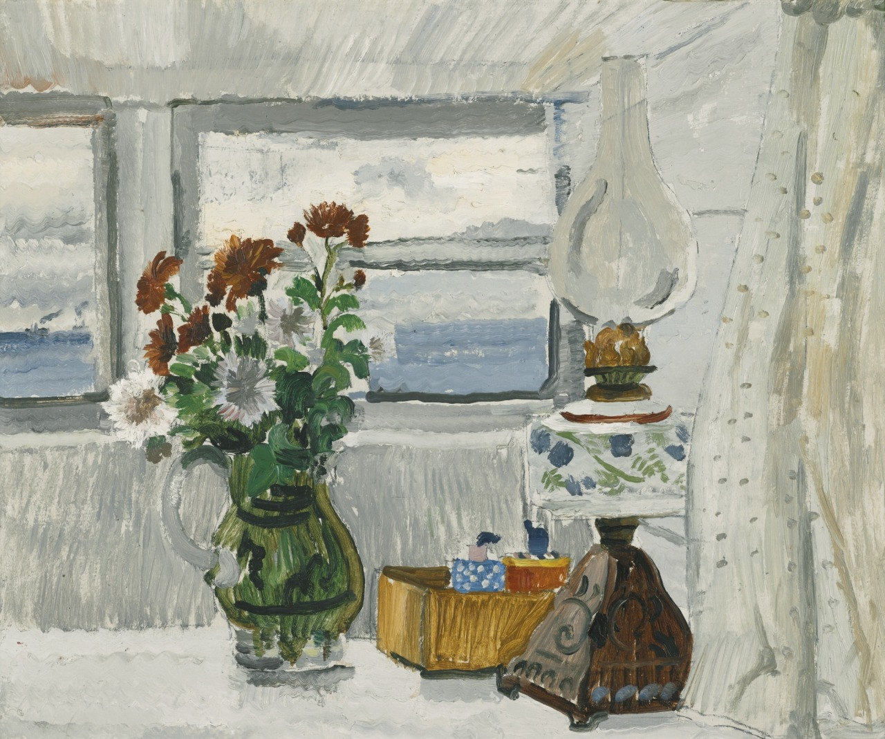 "thunderstruck9: "" Christopher Wood (British, 1901-1930), Flowers and Lamp in a Cornish Window, 1928. Pencil and oil on board, 44.5 x 54 cm. """