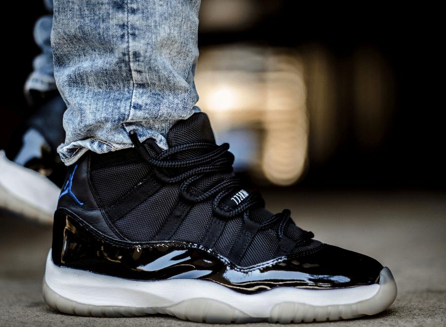 Black Leather Air Jordan XI for men