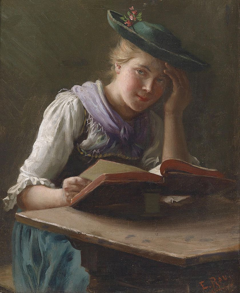 Interesting reading (1920). Emil Rau (German, 1858-1937). Oil on canvas. Rau specialized in genre subjects of everyday people. Here, the girl reading at perhaps a well used kitchen table looks up from her interesting book to smile possibly at a...