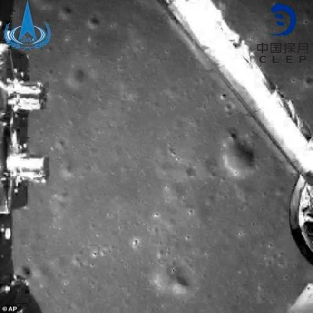 A photograph taken from theChang'e-4 probe during its landing process, as it became the first rover to ever reach the surface of the dark side of the moon