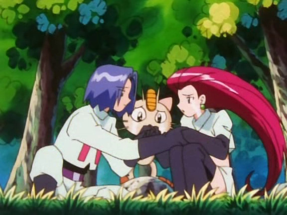James and Jessie are sitting on the ground, with Meowth standing between them. All three are crying. James is consoling Jessie by taking her hand.