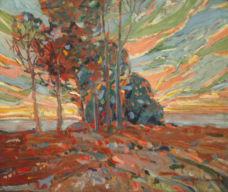 "thunderstruck9: "" Hale Woodruff (American, 1900-1980), Twilight, c.1926. Oil on pressed paperboard, 28 x 32 in. source """