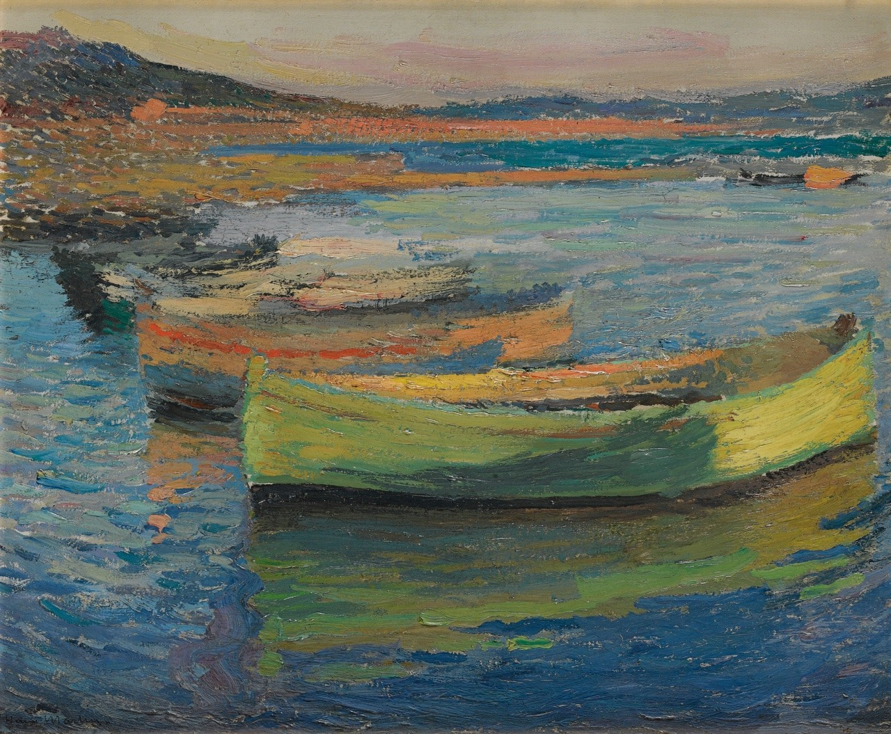 """terminusantequem:"""" Henri Martin (French, 1860-1943), BARQUES AUX ENVIRONS DE COLLIOURE, c.1910. Oil on panel, 37.2 by 46cm (14 5/8 by 18 1/8 in.)"""""""