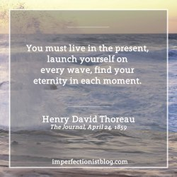 "#40 - ""You must live in the present, launch yourself on every wave, find your eternity in each moment."" -Henry David Thoreau"